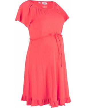 Платье для беременных с поясом с оборками Bonprix