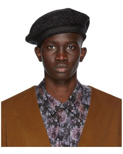 Bawełna czarny wełniany beret prążkowany 4sdesigns