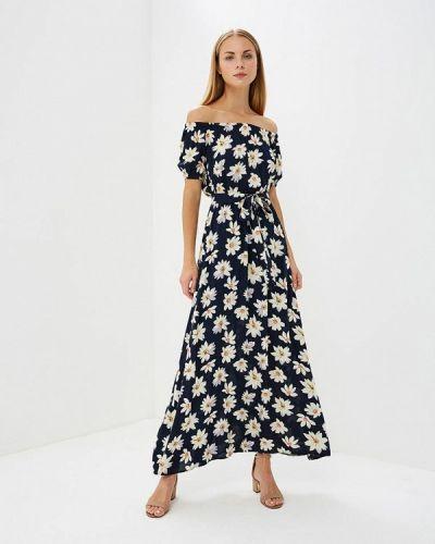 Синее платье с открытыми плечами Trendyangel