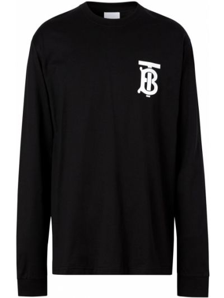 Bawełna prosto czarny koszula okrągły dekolt Burberry