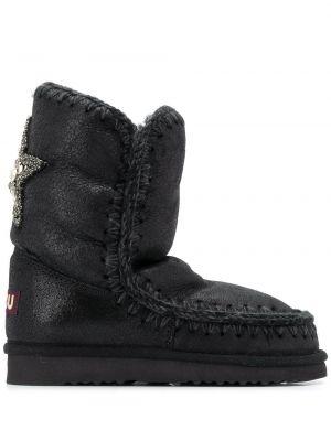 Черные кожаные сапоги с подкладкой Mou
