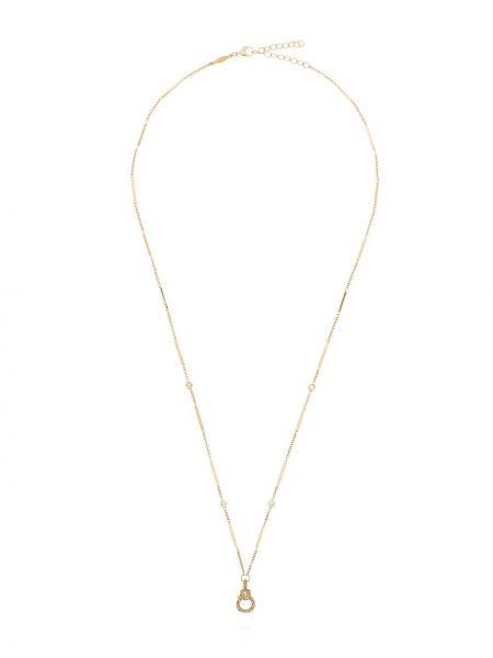 Тонкая желтая цепочка из золота с бриллиантом Jacquie Aiche