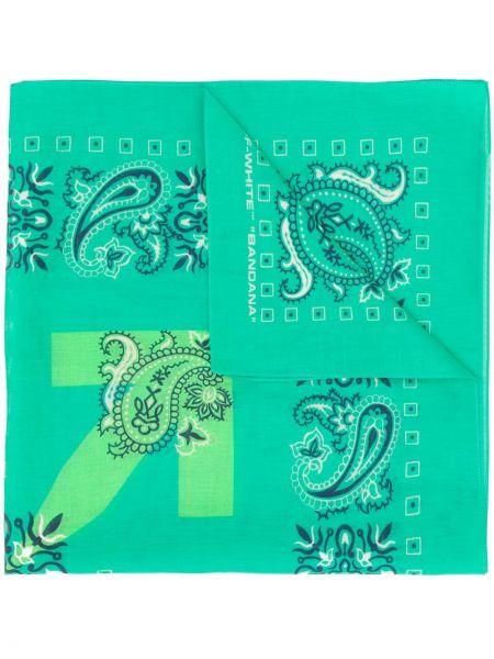 Prążkowany zielony szalik bawełniany Off-white