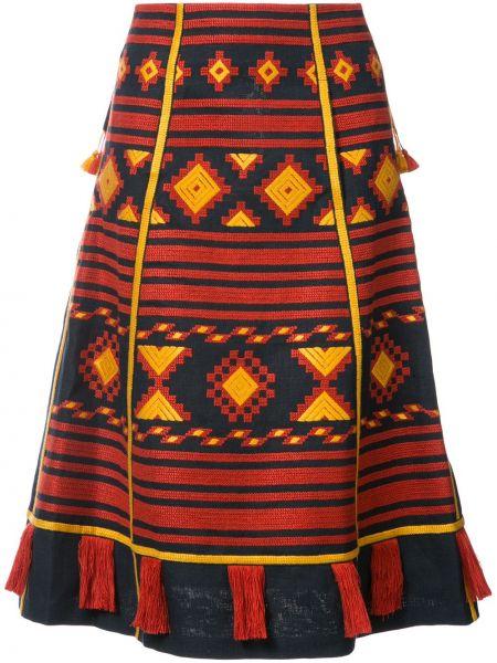 Синяя льняная юбка миди с вышивкой в рубчик Vita Kin