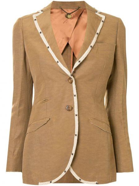 Коричневый приталенный пиджак на пуговицах с лацканами Maurizio Miri