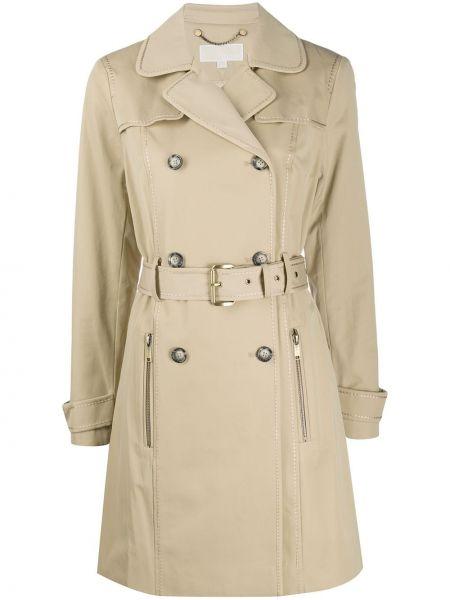 Длинное пальто с поясом хаки Michael Michael Kors