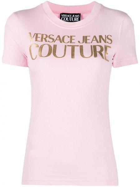 Хлопковая розовая футболка с вырезом Versace Jeans Couture