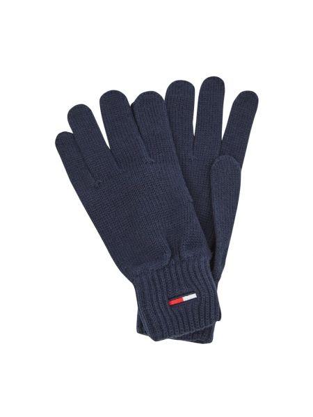Niebieskie prążkowane rękawiczki bawełniane Tommy Jeans