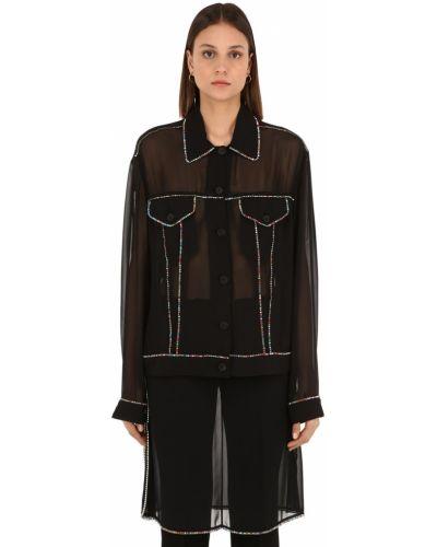 Рубашка со стразами - черная Marco De Vincenzo