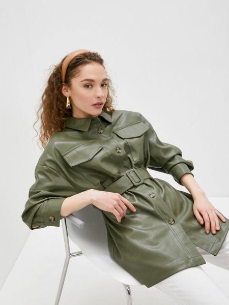 Кожаная куртка весенняя зеленая Sela