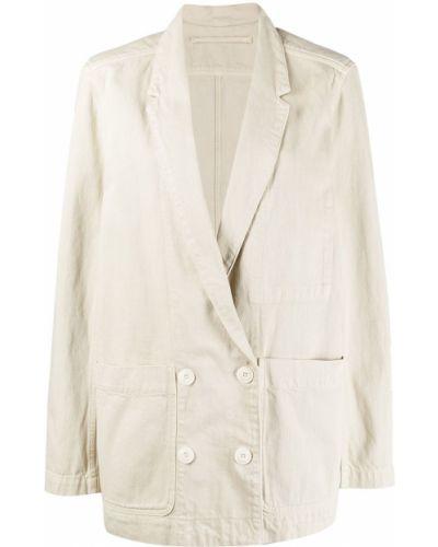 Хлопковый удлиненный пиджак двубортный с карманами Lemaire