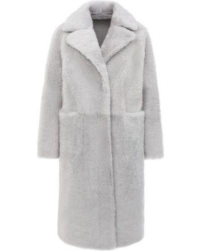 Серая дубленка из овчины с карманами с лацканами Manzoni24