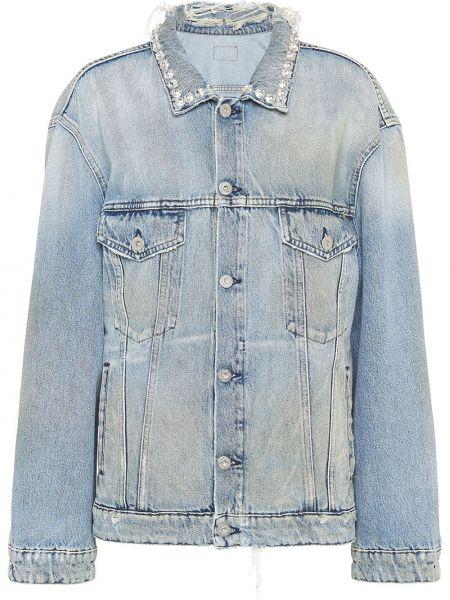Классическая синяя джинсовая куртка с манжетами на пуговицах Miu Miu