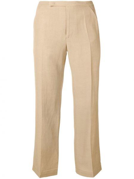 Желтые прямые укороченные брюки с карманами Golden Goose