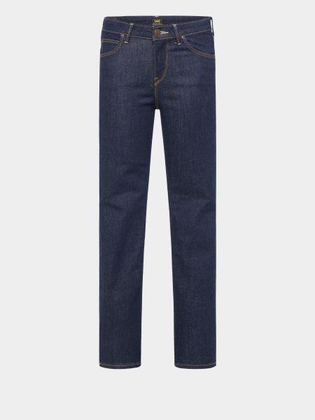 Хлопковые синие джинсы классические с высокой посадкой Lee