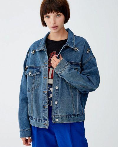 Джинсовая куртка осенняя бирюзовый Pull&bear