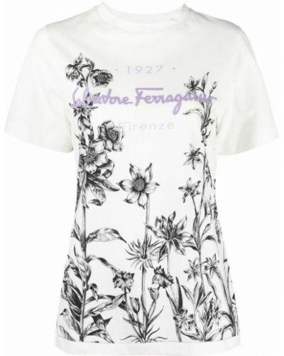 Biała t-shirt Salvatore Ferragamo