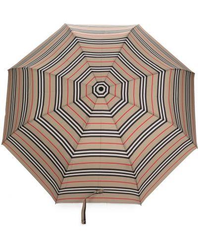 Czarny parasol w paski skórzany Burberry
