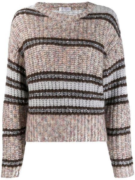 Вязаный свитер из мохера в рубчик с круглым вырезом Brunello Cucinelli
