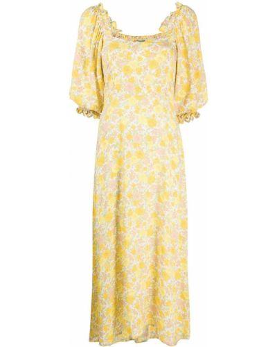 Желтое платье мини с вырезом с короткими рукавами из вискозы Faithfull The Brand