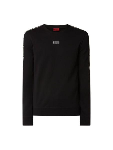 Bawełna czarny bluzka z dekoltem na paskach Hugo