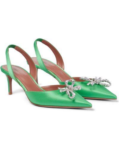 Текстильные зеленые туфли-лодочки Amina Muaddi