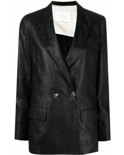 Черный удлиненный пиджак двубортный на пуговицах Tela