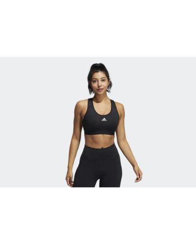 Czarny biustonosz sportowy koronkowy sznurowany Adidas