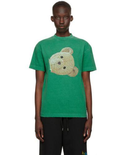 Хлопковая черная футболка с воротником Palm Angels