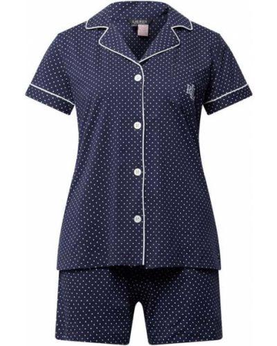 Niebieska piżamy z szortami bawełniana krótki rękaw Lauren Ralph Lauren