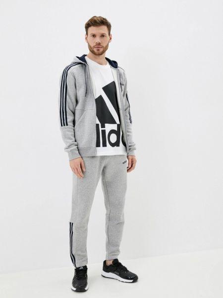 Серый костюмный спортивный костюм осенний Adidas