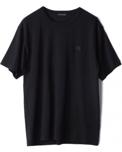Czarny t-shirt bawełniany krótki rękaw Acne Studios