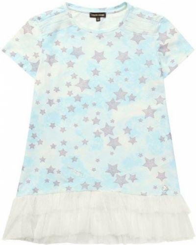 Голубая футболка с оборками Roberto Cavalli