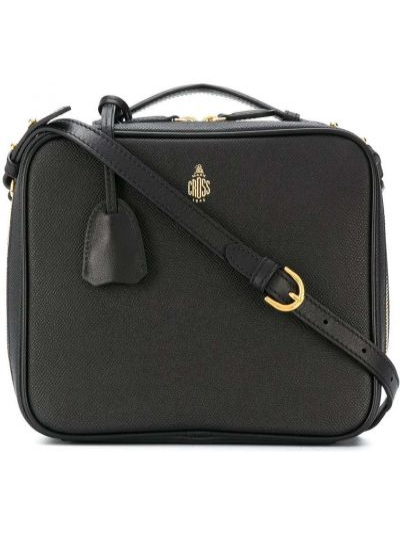Хлопковая черная сумка через плечо на молнии с карманами Mark Cross