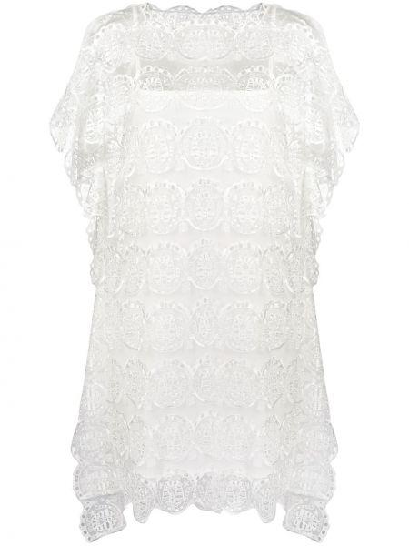 Нейлоновое расклешенное платье мини с вышивкой с вырезом Tsumori Chisato