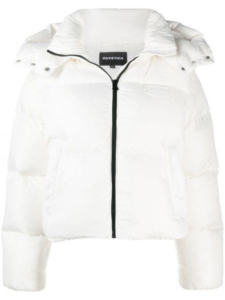 Biały klasyczny płaszcz z kapturem Duvetica