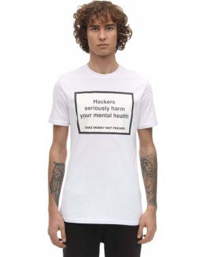 Biały t-shirt bawełniany Make Money Not Friends