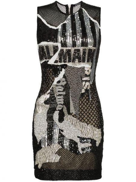 Шелковое черное платье с вышивкой Balmain