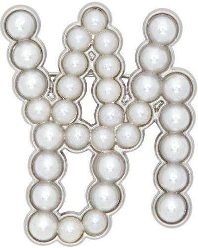 Broszka ze srebra perły srebrna We11done