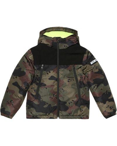 Утепленная куртка камуфляжная зеленая Moncler Enfant