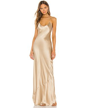 Шелковое тонкое платье макси на бретелях золотое Nili Lotan