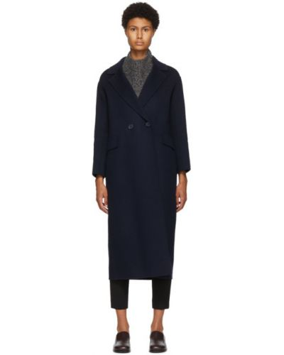Синее шерстяное длинное пальто с воротником 's Max Mara
