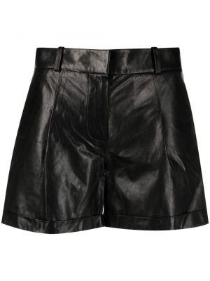 Черные с завышенной талией кожаные шорты Arma