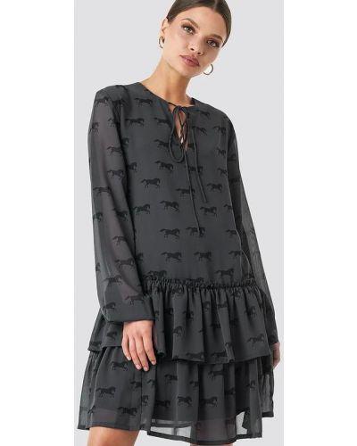 Шифоновое платье макси - серое Na-kd