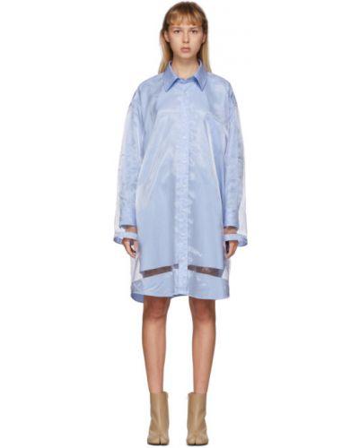 Синее платье макси с длинными рукавами с сеткой с воротником Maison Margiela