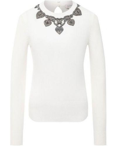 Кашемировый белый пуловер Alexander Mcqueen