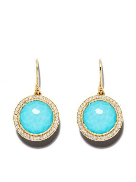 Синие золотые серьги с бриллиантом с подвесками Ippolita