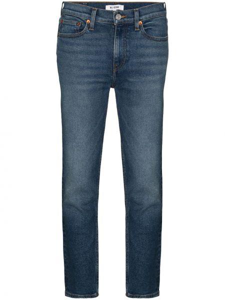 Хлопковые синие зауженные укороченные джинсы с карманами Re/done