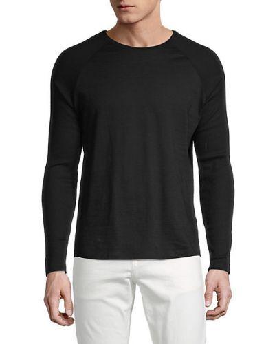 Хлопковый черный длинный свитер с длинными рукавами Boss Hugo Boss