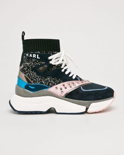 Кроссовки на платформе текстильные темно-синий Karl Lagerfeld